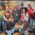 The Superior Plastics Super League - Fantasy Football 2011 pose with their Throwback trophy.
