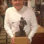 "New Jersey's own Frank ""Turtle"" Marsella proudly displays his Mulligan trophy."