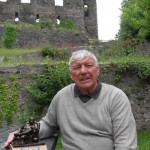 Colin Meredith celebrating his birthday at Haverfordwest Castle, South Wales