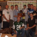 The West Milford Fantasy Football League(NJ) with the Couch Potato trophy.