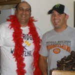 "Bret with the ""Bobby Boucher"" fantasy football trophy"