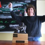 2 Time Champion Carol Jorgensen with the Armchair Crew Chief -Fantasy Nascar Trophy