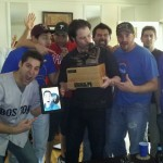 2011 Moneyball Fantasy Baseball League Champion Brad Urba with the Armchair Ace fantasy trophy.