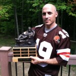 My buddy Mario with the new Fedele fantasy football trophy