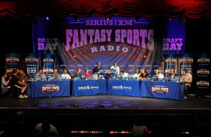 The Sirius XM fantasy football draft with the Throwback fantasy football trophy front and center
